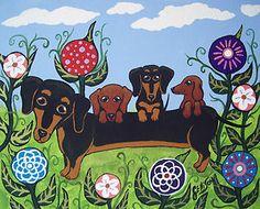 DACHSHUND PUPPIES FLOWERS Doxie Weiner DOGS Art Original Painting J ELLISON