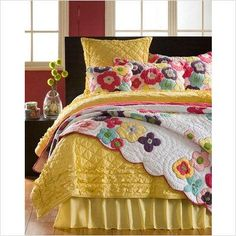 Amity Home Katie Quilt Collection - Katie Quilt Collection Peach Bedding, Yellow Bedding, Girl Bedding, Yellow Quilts, Colorful Quilts, Amity Home, Quilting, Shabby, Twin Quilt