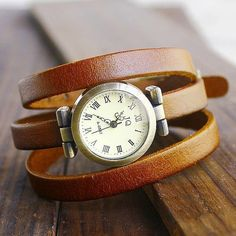 Vintage Real leather Women Watch Unique retro leather watch