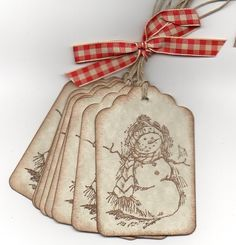 Snowman Christmas Gift Tags Hang Tags Labels  Vintage Rustic Style