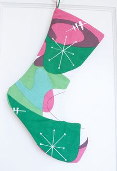Retro Inspired Atomic Age Christmas Stocking by swizzlestixshop