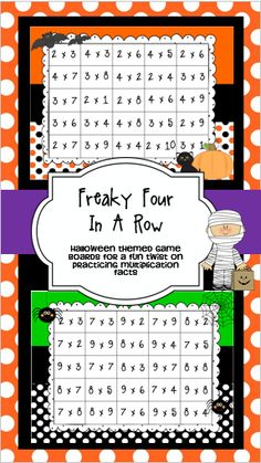 These four in a row Halloween themed game boards are a fun way to practice multiplication facts while working cooperatively. Students try to get four facts in a row before their partner does. $