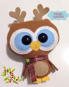 Molde coruja/corujinha rena enfeite de natal em feltro ; own reindeer christmas felt 1