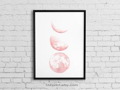 Moon Phase Art, Pink Moon Wall Art Prints, Bedroom or nursery room decor Free Art Prints, Wall Art Prints, Canvas Prints, Moon Phases Art, Pink Moon, Moon Print, Nursery Room Decor, Office Art, Background Pictures