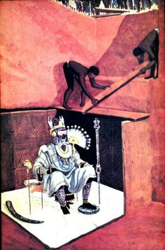 Illustration of fully dressed corpse seated on stool wearing copper crown with elephant tusks on ground in Igbo-Ukwu burial chamber