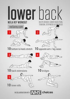 Photo: Lower Back Workout Helps reduce lower back pain, tension, stiffness & soreness. #fitness  #workout  #lowerbackpain  PDF:http://darebee.com/workouts/lower-back-workout.html
