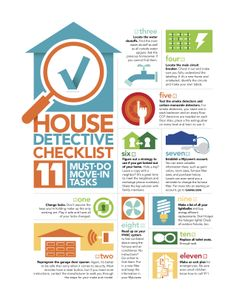 House Detective Checklist: 11 Must-Do Move-In Tasks (seems to be sponsored by Lowes) I love infographics!