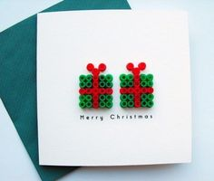 Hama beads Compton Here's a card for you! Get the kids to make the parcels! Christmas Cards To Make, Christmas Images, Kids Christmas, Christmas Design, Christmas Perler Beads, Origami 3d, Theme Noel, Perler Bead Art, Merry Xmas