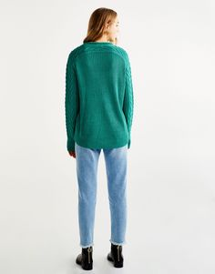 Cable knit sweater - Knit - Clothing - Woman - PULL&BEAR Belgium