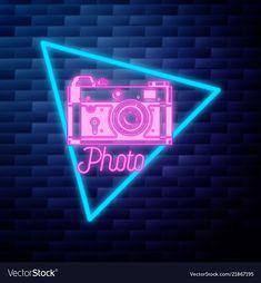 neon vector vectorstock sign glowing cute emblem photographer instagram brick iphone icons backgrounds