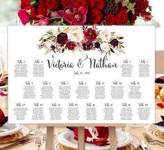 Wedding Seating Chart Poster Burgundy, Red, Blush Pink, Marsala Romantic Blossoms