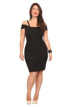 Black Off-Shoulder Splice Dress