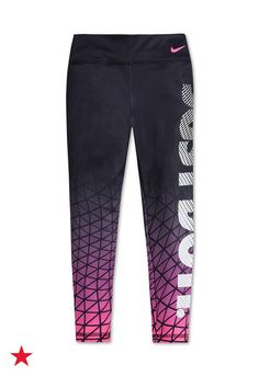 Comfortable fabric and cool colors combine to make these awesome Nike leggings. Your little girl will love adding this style to her athletic wardrobe. Click to shop for even more Nike gear at Macy's.