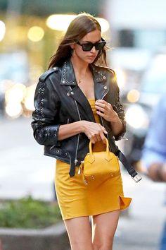 Vogue Fashion, Fashion Models, Fashion Outfits, Irina Shayak, Irina Shayk Style, Lambskin Leather Jacket, Celebrity Outfits, Mellow Yellow, Minimal Fashion