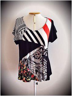 Blusa ecofriendly, feita com retalhos que sobram do corte das confecções