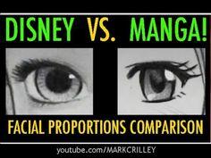Comparison of Disney vs. Guy Drawing, Manga Drawing, Drawing Reference, Realistic Drawings, Cute Drawings, Cartoon Girl Eyes, Girl Pose, Facial Expressions Drawing, Facial Proportions