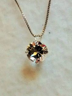 crystal quartz pendant and chain in sterling by DYNASTYJEWELRY, $50.00