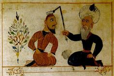 Ottoman doctor. Early color miniatures of psychiatric treatment methods, as drawn by physician Serefeddin Sabuncuoglu (1385-1470).