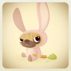 """I have loved seeing all the pugs in bunny ears today!  Attached is an illustration I did of a friend's pug in a bunny costume. I call it Pugs Bunny."" Thank you @Greg_Ham !  #pug #pugs #pugsofinstagram  #easter  #easterpuggies"