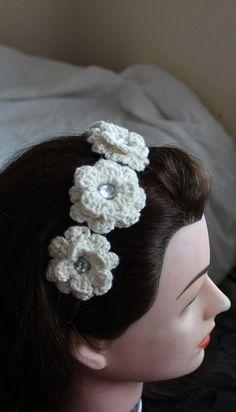 Wedding head piece crochet flowers by KariLynnsKumfort on Etsy Head Piece, Winter Accessories, Headdress, Crochet Flowers, Middle, Gems, Popular, Princess, Diamond