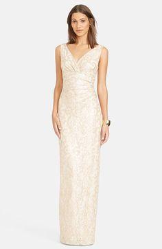 Lauren+Ralph+Lauren+Sequin+Lace+V-Neck+Column+Gown+available+at+#Nordstrom
