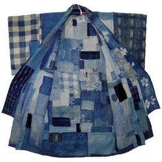 Incredible indigo denim Japanese kimono patchwork on exhibition in Australia