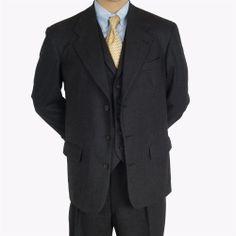 Vtg 3 Pc Wool Suit Nigels Nathan David Mens 42 R 32S Neiman Marcus Vest Charcoal #Nigels #ThreeButton #Suit #Wool #Vest #MensSuit #SomeLikeItUsed