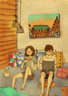 Korean artisit Puuung creates beautiful portraits of everyday moments in the life of a couple.
