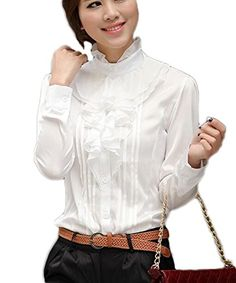 Aro Lora Womens Long Sleeve Lotus Ruffled Casual Shirt Blouse Medium White ** See this great product.Note:It is affiliate link to Amazon. #versagram