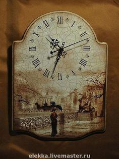 """Купить Часы """"Прогулки на грани веков"""" - часы интерьерные, часы настенные, Декупаж, винтаж"""