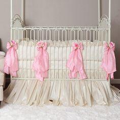 Celine Cream & Pink Crib Bedding by Olena Boyko