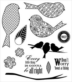 Rubber, Foam & Roller Stamps - Darcie's Cling Mounted Rubber Stamps - Three Little Birds