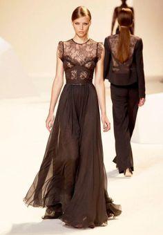 vestido largo negro con encaje - Buscar con Google