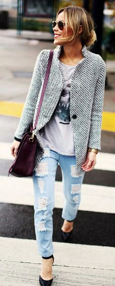 <3 Street Style Always Rocks <3 30 Chic-ish Ideas To Wear Tweed Jacket Outfits This Winter | Tweed Jacket Outfits | Fenzyme.com <3