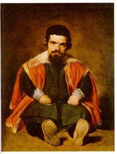 Velazquez - Portrait d'un nain assis à terre (Sebastian de Morra) 1645
