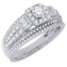 1 1 4 Ct T W Diamond Cluster Multi Row Engagement Ring