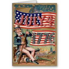 US Flag Fireworks Firecracker Uncle Sam Greeting Cards