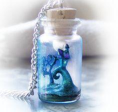 Nightmare Before Christmas Bottle Necklace by UraniaArt
