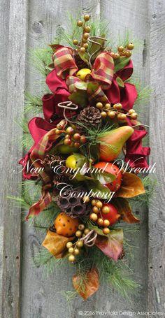 Fall Swag, Autumn Wreath, Fruit Swag, Williamsburg Swag, Elegant Designer…