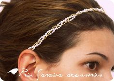 headband trançado feito com corrente de bolinha e mini pérolas