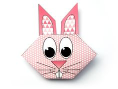 If you liked the dog head origami model, you will certainly also like this very cute bunny! It's perfect for Easter, but you don't have to wait until next year to color, print and fold this rabbit! Rabbit Head, Origami Models, Origami Tutorial, Kawaii Cute, Cute Bunny, Easter, Diy Crafts, Kids, Accessories