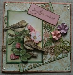 LindaCrea - Cute Little Birds Cards For Friends, Little Birds, Pretty Cards, Junk Journal, I Card, Card Ideas, Give It To Me, Shabby Chic, Card Making