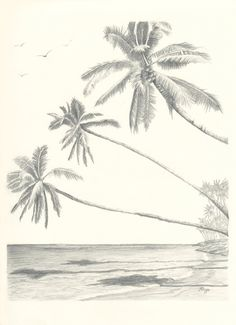 Hawaii Paradise Three Palm Tree Beach Pencil Drawing by rockplanet, $15.00