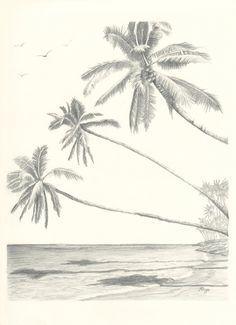 Hawaii Paradise Three Palm Tree Beach Pencil Drawing by rockplanet, $15.00