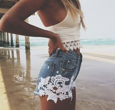LOVE these lace applique cutoff shorts!  Perfect with this lace trimmed tank top. Women's teen fashion clothing outfit for spring summer