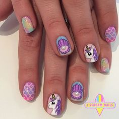 iscreamnails (for my Laci) Really Cute Nails, Cute Nail Art, Gel Nail Art, Pretty Nails, Diy Nail Designs, Nail Polish Designs, How To Do Nails, Fun Nails, Unicorn Nail Art