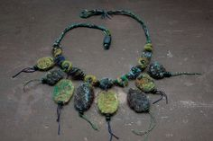 Blue green needle felted crochet necklace with by rRradionica