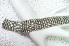 Wide Vintage RHINESTONE Bracelet  Vintage by ElegantiTesori