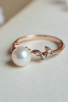 Pearl Engagement Rings For A Beautiful Romantic Look ❤ pearl engagement rings rose gold vintage solitaire ❤ More on the blog: ohsoperfectpropos...