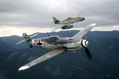 Messerschmitt Me-109 & Messerschmitt Me-262 #aviation #aircraft #warbird #ww2 #single #piston #twin #jet #fighter #luftwaffe #germany